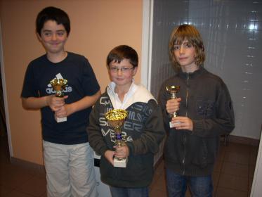 Les vainqueurs du tournoi Arthur (au centre) 1er, Guillaume (à gauche) 1er ex-aequo , Mathieu (à droite) 3ème