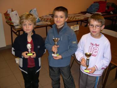 Les vainqueurs du tournoi débutants de gauche à droite (Lucas, Maxime et Doryan)